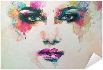 Zelfklevende Poster Vrouw portret .abstract aquarel Mode-achtergrond