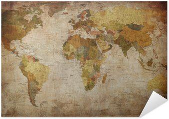 Zelfklevende Poster World map