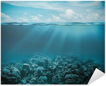 Zelfklevende Poster Zee of oceaan onderwater diep natuur achtergrond
