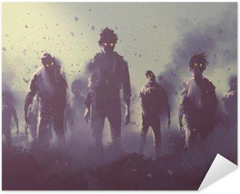 Zelfklevende Poster Zombie menigte lopen 's nachts, halloween concept, illustratie painting