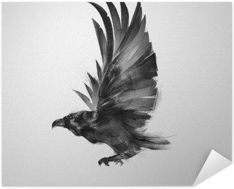 Zelfklevende Poster Zwarte kraai geïsoleerd grafisch vliegende vogel