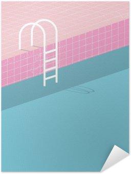 Zelfklevende Poster Zwembad in vintage stijl. Oude retro roze tegels en witte ladder. Zomer poster achtergrond sjabloon.