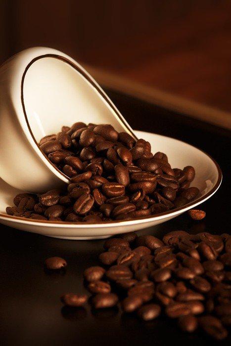 Ziarna kawy i filiżanka