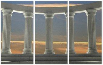 Starożytne marmurowe filary w eliptycznym układzie z pomarańczowym niebie