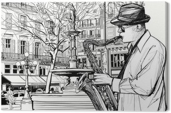 saxophone player in a street of Paris