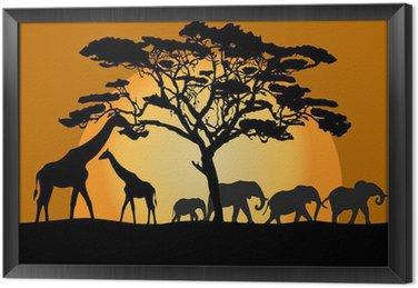 Krajobraz Savannah ze zwierzętami