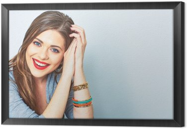 Face portrait of smiling woman. Teeth smiling girl. One model