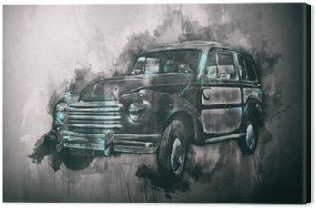 Old car painting with dark vignette