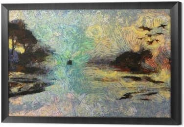Vivid Swirling Painting of Islands Sunset or Sunrise