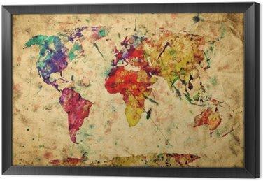 Mapa świata archiwalne. kolorowe farby, akwarela na papierze grunge