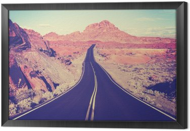 Vintage toned curved desert highway, travel concept, USA