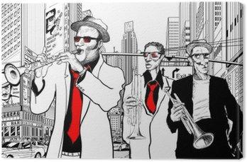 Zespół jazzowy w ulicy Nowym Jorku