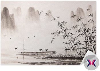 Chiński krajobraz malarstwo tuszem