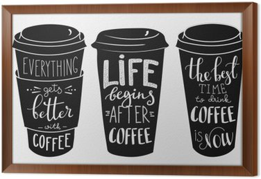 Quote lettering on coffee paper cup shape set