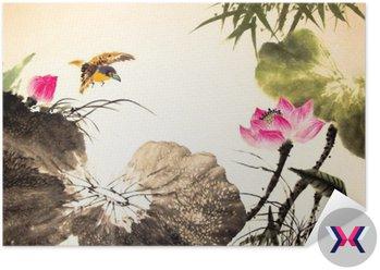 Tusz lotosu malowanie ręcznie rysowane