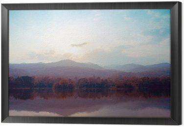 Krajobraz jeziora gór jesienią - style klasyczne.