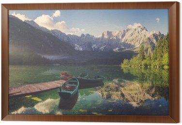 Alpine lake at dawn, beautifully lit mountains, retro colors, vintage