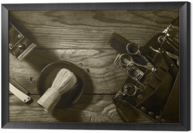 Vintage set of Barbershop.Toning sepia
