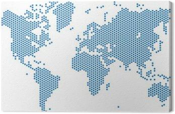 Kropki mapa świata na białym tle, ilustracji wektorowych.