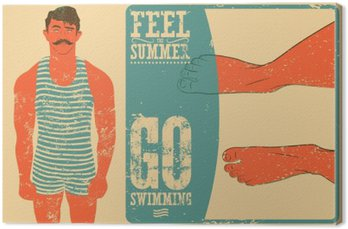Summer phrase typographic vintage grunge poster design with swimmer. Retro vector illustration.
