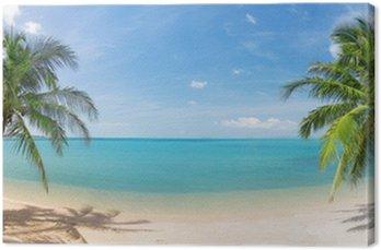 Panoramiczne tropikalnych plaża z palmy kokosowej