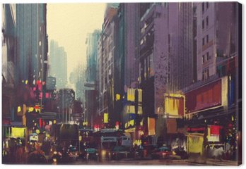 City traffic and colorful light in Hong Kong,illustration painting
