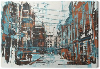 illustration painting of urban street with grunge texture