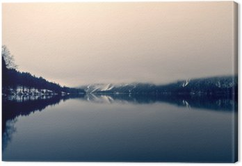 Snowy winter landscape on the lake in black and white. Monochrome image filtered in retro, vintage style with soft focus and red filter; nostalgic concept of winter. Lake Bohinj, Slovenia.