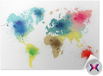 colorful world map with paint splashes