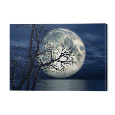 3d tle krajobraz z księżyca i drzewa