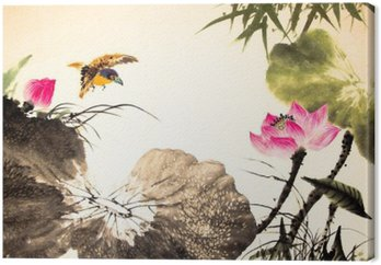 ink lotus painting hand drawn