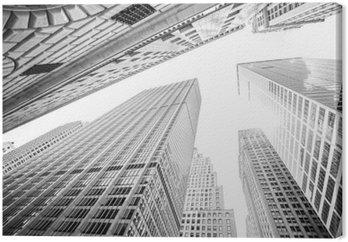 Patrząc na drapacze chmur na Manhattanie w Nowym Jorku, USA