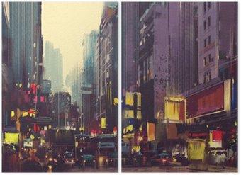 Miasto ruchu i kolorowe światła w Hong Kongu, ilustracja malarstwo