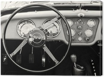Kierownicy i deski rozdzielczej w zabytkowym rocznika samochodu