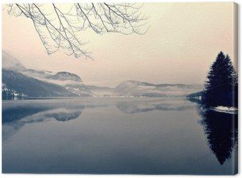 Snowy zimowy krajobraz nad jeziorem w czerni i bieli. Obraz monochromatyczny filtrowany w stylu retro, vintage z miękki, czerwony filtr i trochę hałasu; nostalgiczna koncepcja zimowym. Jezioro Bohinj, Słowenia.