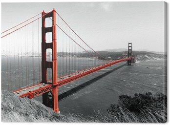 Golden Gate Bridge Red Pop on B&W