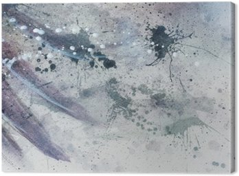 Abstrakcyjne malarstwo z rozmyte i poplamione strukturze z delikatnym piór sylwetki.