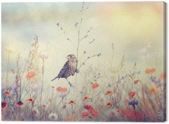Pole z dzikich kwiatów i ptaków