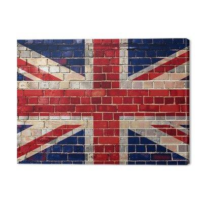 Flaga UK na tle ceglanego muru