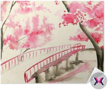 Most między wiśniowych, w stylu chińskim krajobrazu