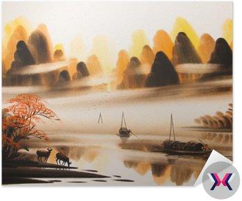 Chiński krajobraz akwarela painting__