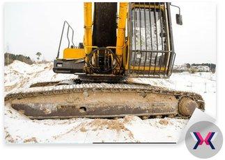 Kabinie ciągnika koparka Caterpillar zima śnieg