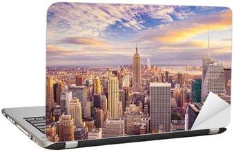 Zachód słońca widok na Nowy Jork Midtown Manhattan, patrząc na