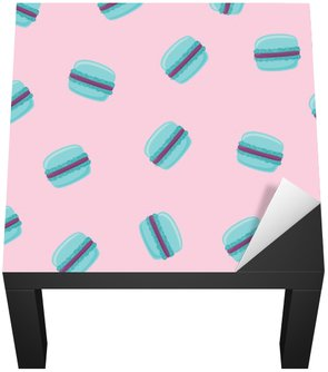 Seamless pattern with blue macaroon cookies on pink. Vector illustration.