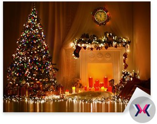 Christmas Room Interior Design, Xmas tree zdobione Lights