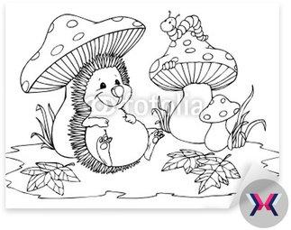 Hedgehog, grzyby, Caterpillar, jesień, las, grzyby