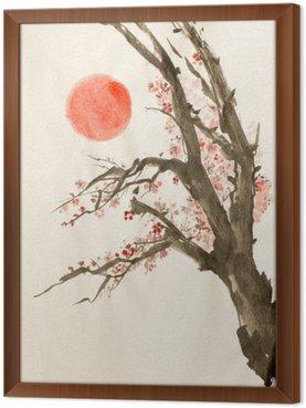 plum tree red sun