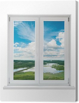 Biały plastik podwójne drzwi okno z widokiem na spokojny krajobraz