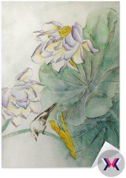 Kwiat lotosu i ptak