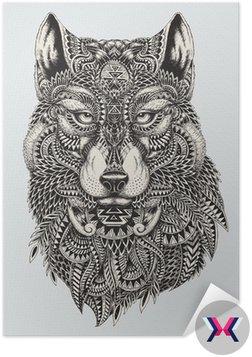Bardzo szczegółowe streszczenie ilustracji wilka
